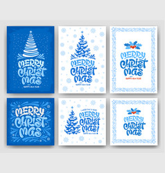 merry christmas greeting card set with artistic vector image
