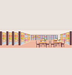 Modern library interior bookshelves with books vector