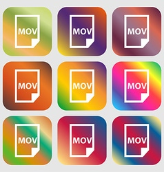 Mov file format icon Nine buttons with bright vector