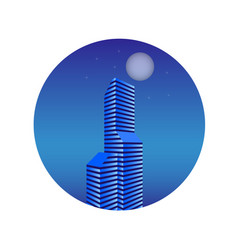 Multi-storey building in the evening vector