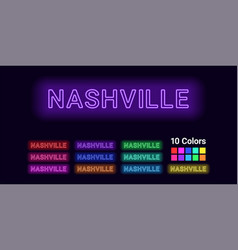 Neon name of nashville city vector