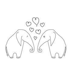 One line elephant couple in love vector image
