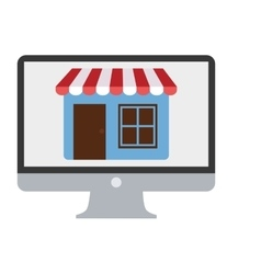 online shopping computer mobile marketing vector image