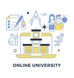 online university flat outline concept vector image