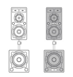 outline loudspeakers stand subwoofer pair vector image