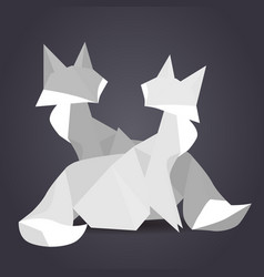 pair of paper origami foxes paper vector image