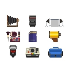Photo studio icons set vector