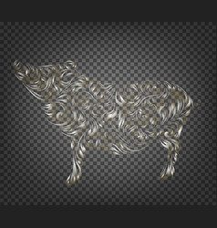 pig decoration - symbol 2019 year contour of vector image