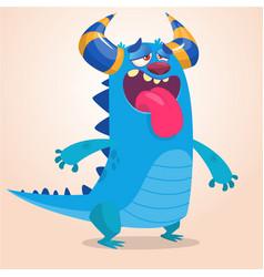 pleased cartoon monster vector image