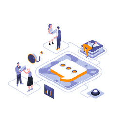 public relations isometric landing page vector image