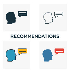 Recommendations icon set four elements in vector