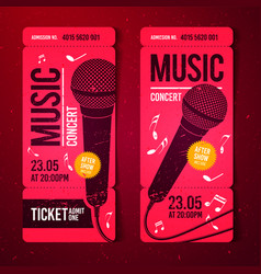 red music concert ticket design template vector image