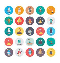 Robotics colored icons vector