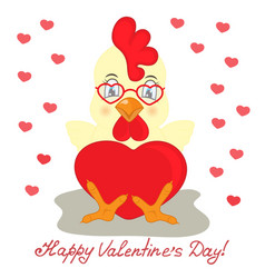 rooster in glasses with heart valentines day vector image