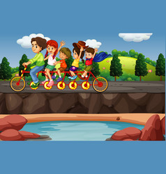 scene with people riding on tandem bike vector image