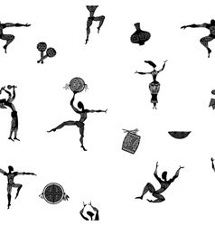 Seamless texture with figures primitive people vector