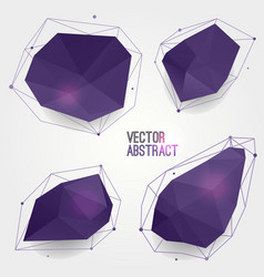 set abstract modern crystal shapes with lines vector image