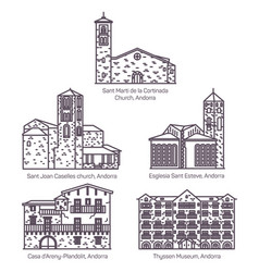 set isolated line andorra church and castle vector image