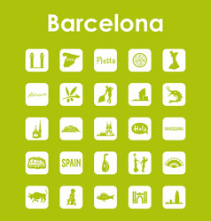 set of barcelona simple icons vector image