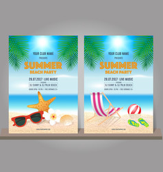 Set of summer beach party design template vector