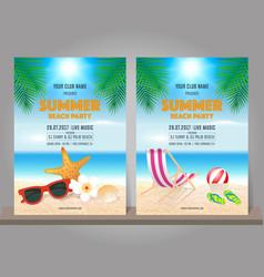 Set summer beach party design template vector