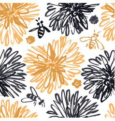 sketched floral seamless pattern with bees vector image
