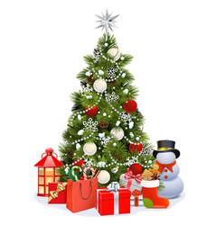 snowy christmas pine tree vector image