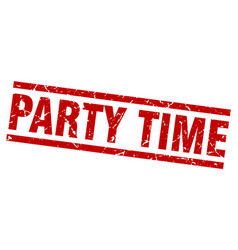 square grunge red party time stamp vector image