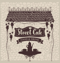 Street cafe with table and tea roof and grapes vector