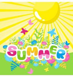 Summer inscription of colored letters with the sun vector