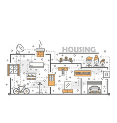 thin line art housing poster banner vector image