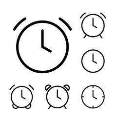 Thin line clock alarm icons vector