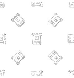 traditional backpack pattern seamless vector image