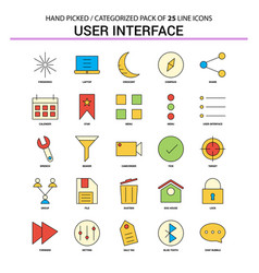 User interface flat line icon set - business vector