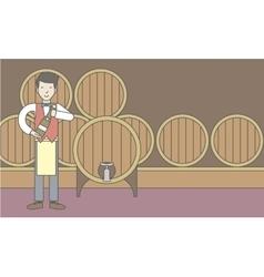 Waiter in wine cellar vector image