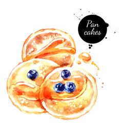 Watercolor hand drawn breakfast pancakes vector