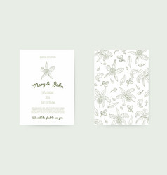 wedding background with hand-made floral elements vector image