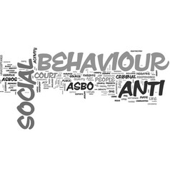 What is anti social behaviour text word cloud vector