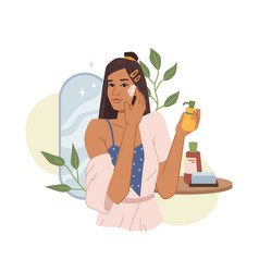 Woman apply anti acne cream on face cosmetics vector