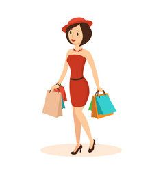 woman makes a major purchase in the mall vector image vector image