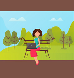 Woman using laptop outdoor sitting on bench vector