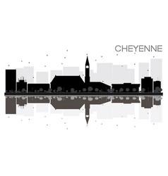 cheyenne city skyline black and white silhouette vector image