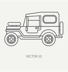 Line flat hunt and camping icon off-road vector