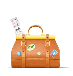Vintage suitcase with stickers and plane ticket vector