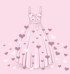 wedding dress with hearts vector image