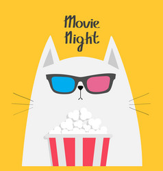 White cat eating popcorn cinema theater cute vector