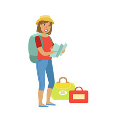 Woman standing with traveling backpack and bags vector