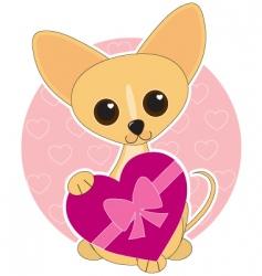 chihuahua heart theme vector image vector image