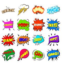 comic bubbles set icons set cartoon style vector image