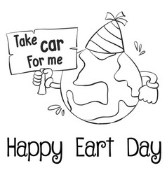 happy earth day with world hand draw vector image